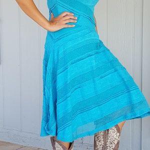 Fit and flare aqua lace dress